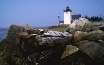 Grindle Point Lighthouse with rocks