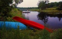 Two canoes at Meadow Pond