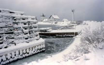 Lobster pots in snow