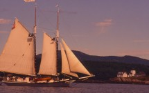 Tall Ship at Indian Island Lighthouse, Rockport, Maine