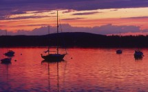 West Penobscot Bay with boats at dusk