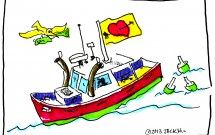 Lobster boat shows Valentine flag