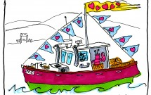 Lobster boat flies Valentine pennants