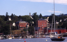 Rockport harbor with buildings on hill
