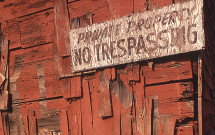 Belfast warehouse No Trespassing sign