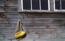 Monhegan shed with lobster buoy