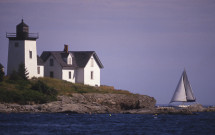 Indian Island Lighthouse with sailboat