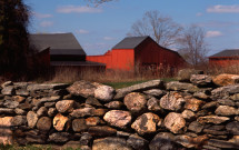 Gilead red barn with stone wall