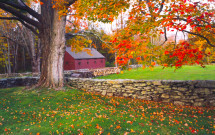 Thompson red barn with stone wall